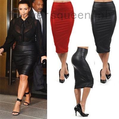 High Waist Wet Look Faux Leather Midi Skirt Womens Ladies Pencil