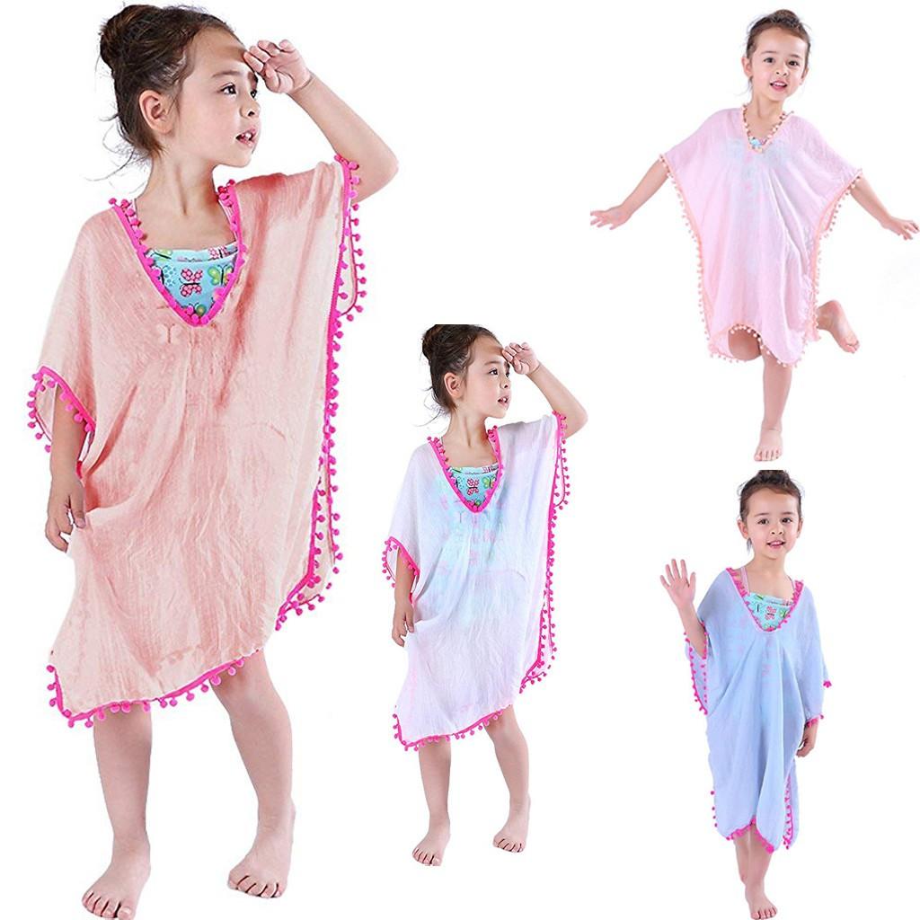 kawayiToddler Kids Baby Girls Cover-ups Swimsuit Wraps Beach Dress Tops  Pompom Tassel | Shopee Philippines