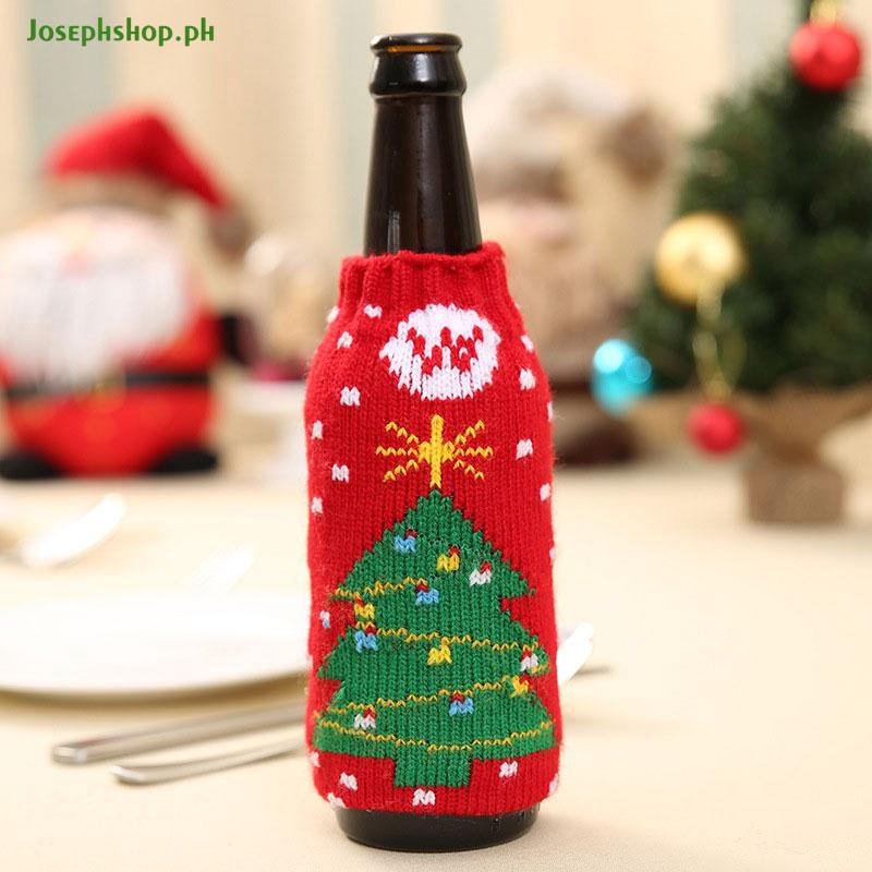 Christmas Cover Beer Wine Bottle Decor Knitted Party Table Bag Santa Sweater DD