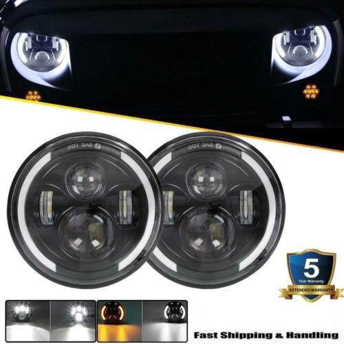 7/'/' CREE LED Headlight Hi//Low Beam Halo Angle Eye For Jeep Wrangler JK LJ TJ