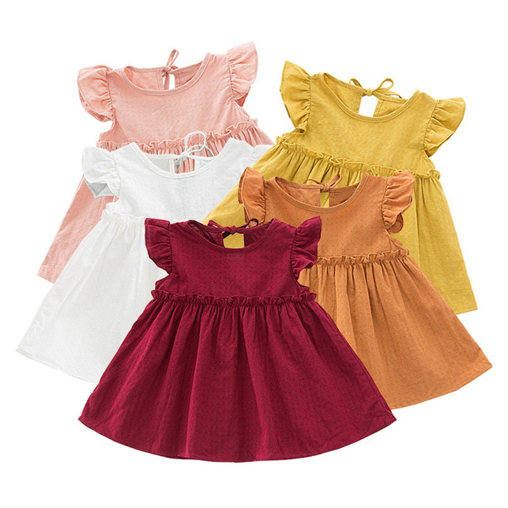 50b13939db6df Toddler Kids Baby Girls Ruffle Solid Linen Elegant Princess Party Dress  Clothes