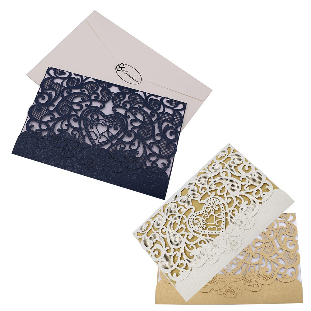 Hot 10pcs Delicate Carved Romantic Wedding Party Invitation Card Envelope