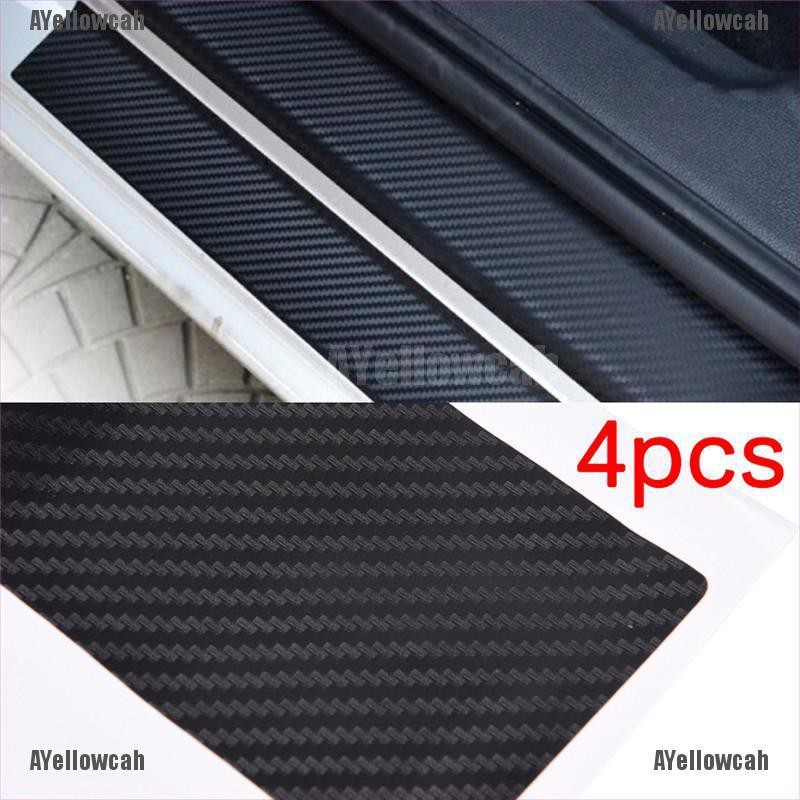 4pcs 3D Carbon Fiber Look Car Door Plate Sill Scuff Cover Sticker Anti Scratch