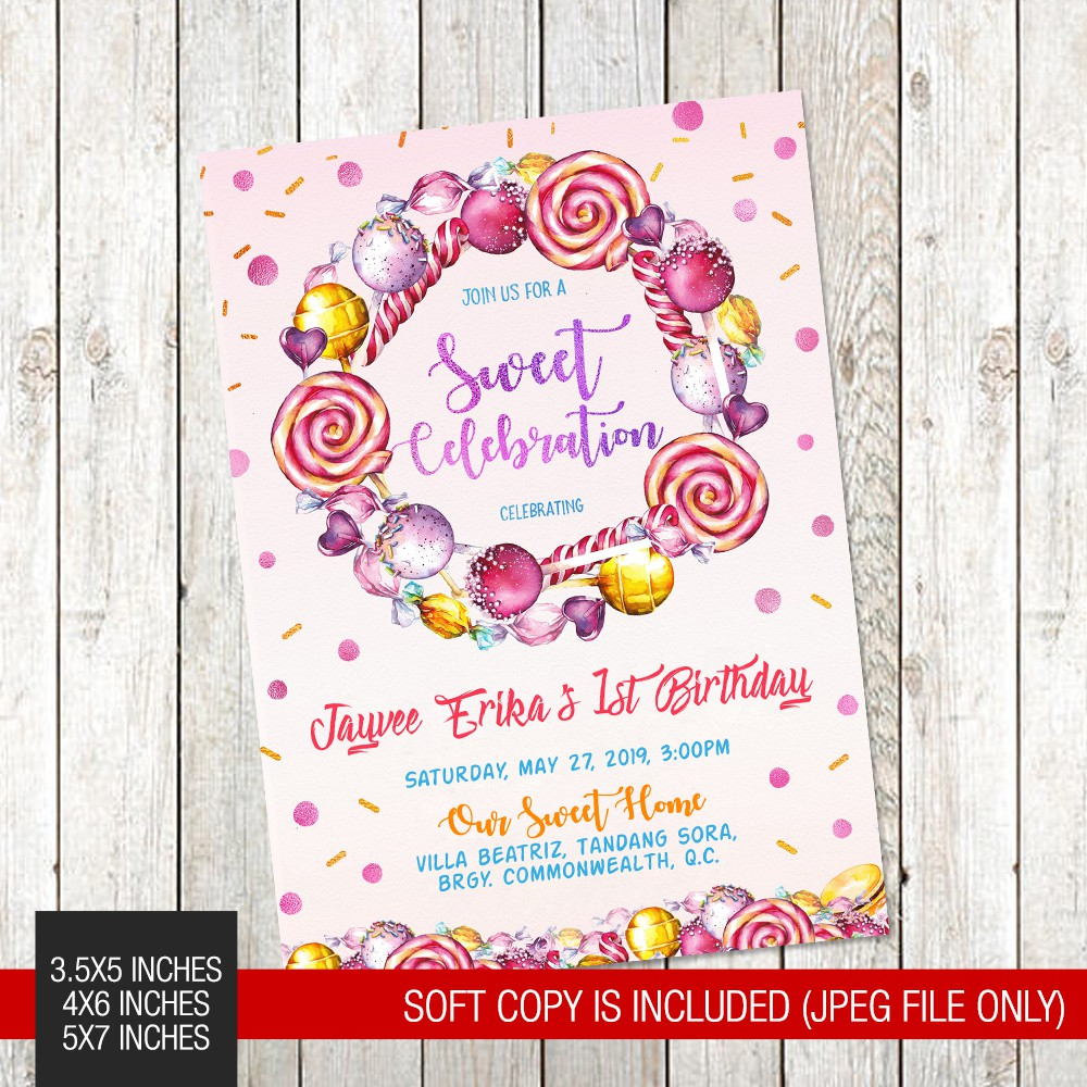 Candy Candyland Themed Printed Birthday Invitation
