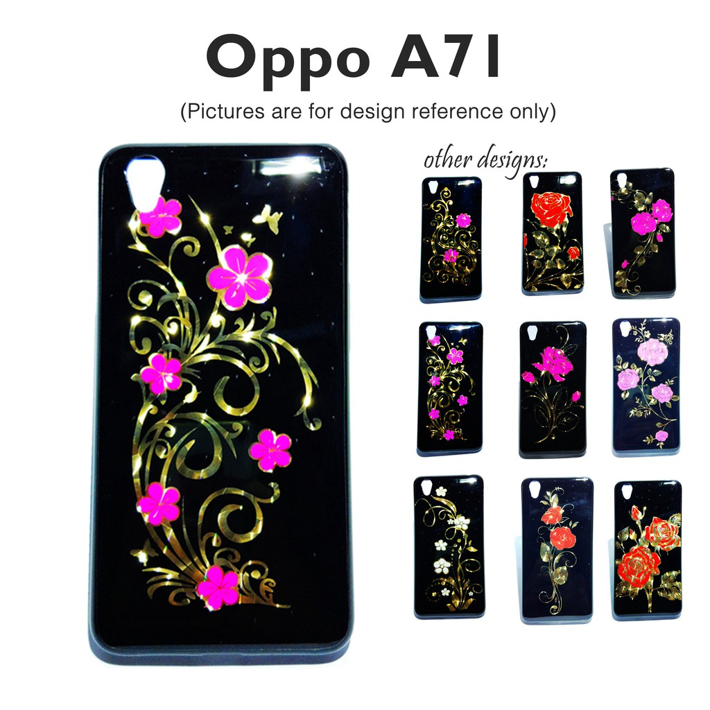 new styles 9a798 50952 Golden Floral Glossy Soft Case for Oppo A71