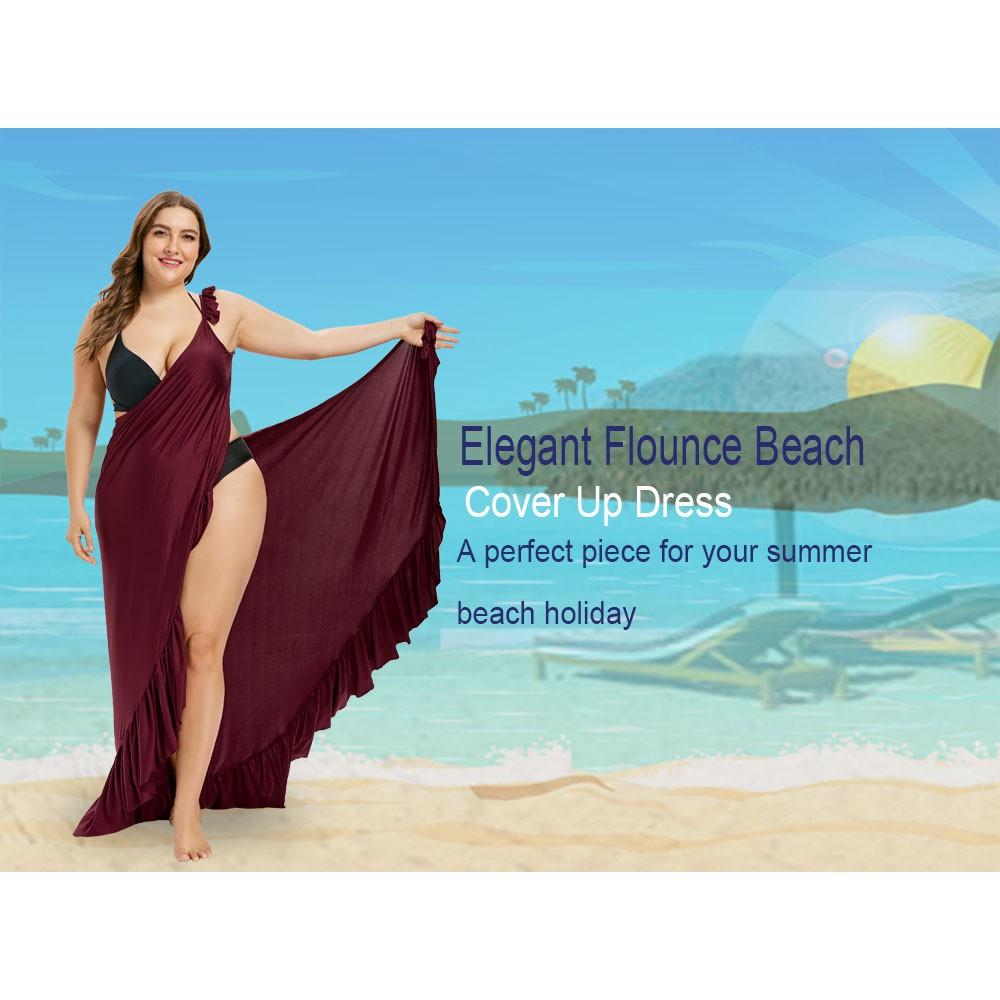 4e99463c06 S♬F Plus Size Flounce Wrap Cover Up Dress | Shopee Philippines