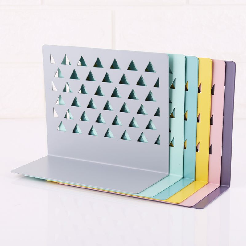 "2X6.7/"" L-Shaped Bookend Anti-skid Solid Metal Shelf Book Case Holder Home Lp"