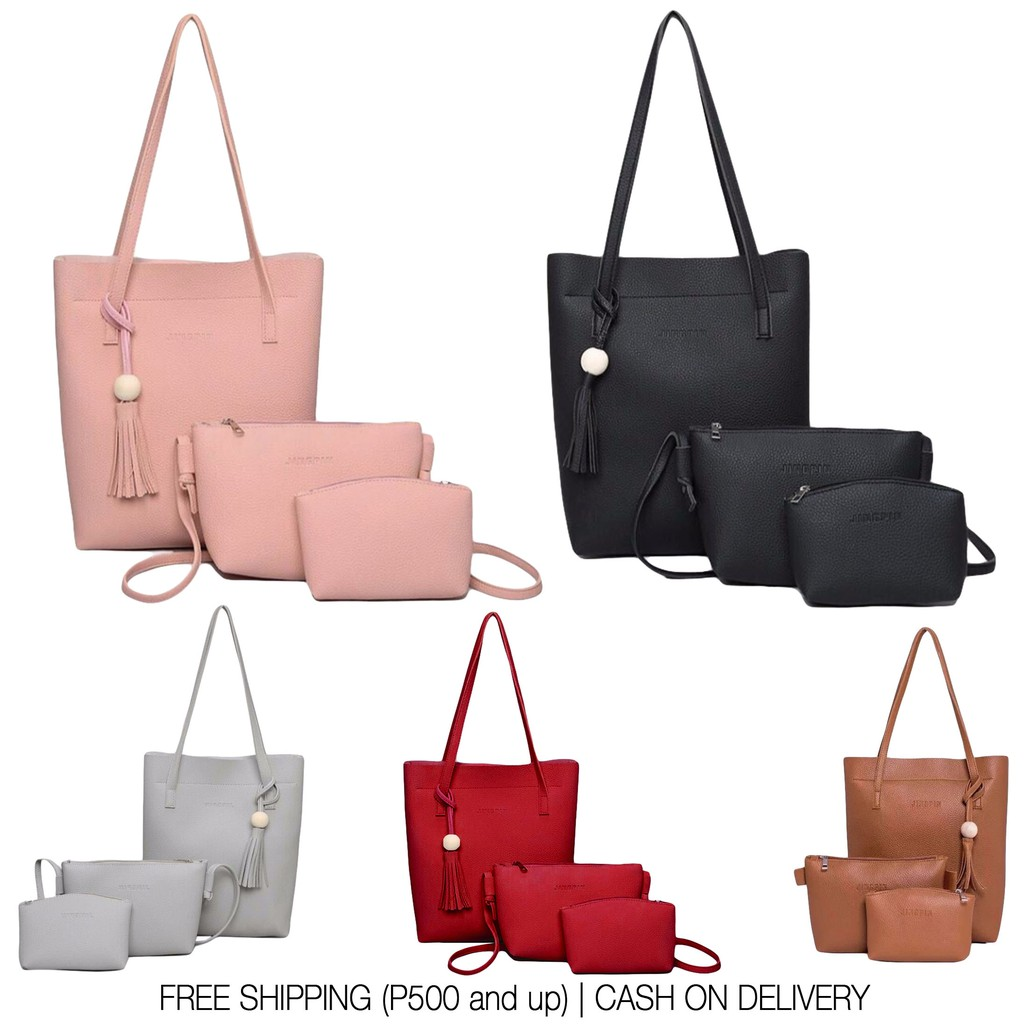 3 in 1 jingpin leather tote shoulder bag shopee philippines