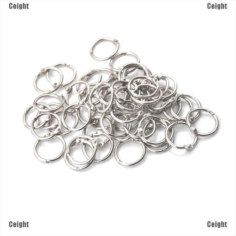 Staple Book Binder Scrapbooking 24mm Outer Dia Loose Leaf Ring Keychain 20pcs