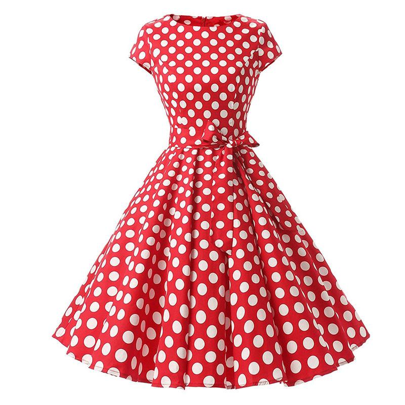official sale biggest selection free delivery Women Robe Swing Dress 1950s Rockabilly Dot Summer Dresses