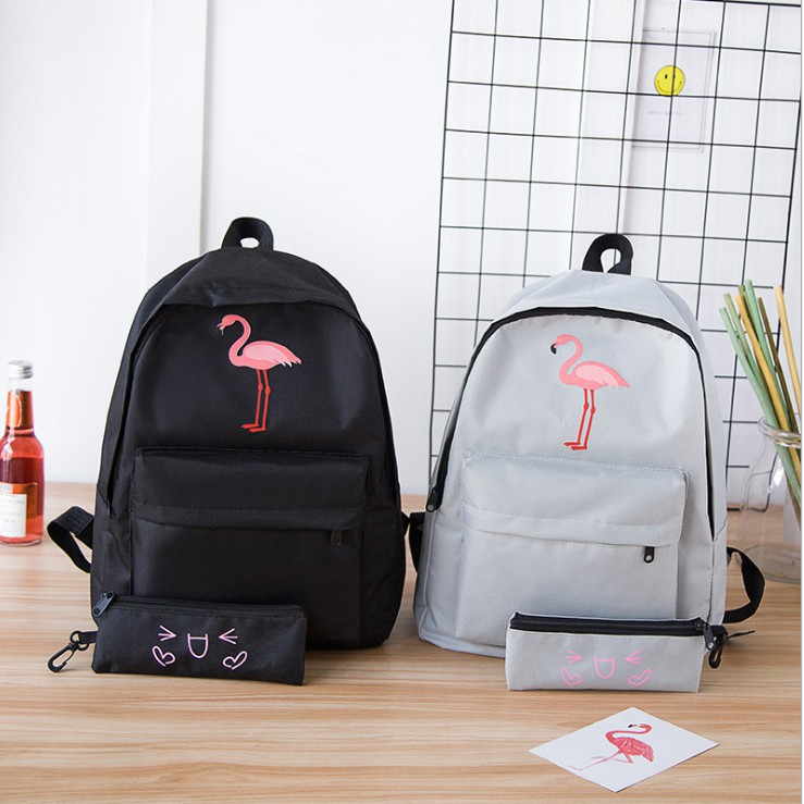 45145ca0c2f9 Muzi.Flamingo Embroidered Personalit Backpack Bag