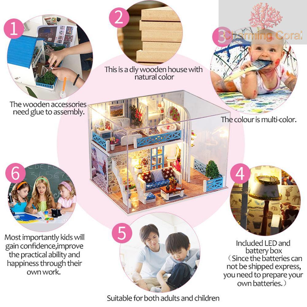 Festnight Miniature Super Mini Size Doll House Model Building Kits Wooden Furniture Toys DIY Dollhouse Girl Bedroom Blue Christmas