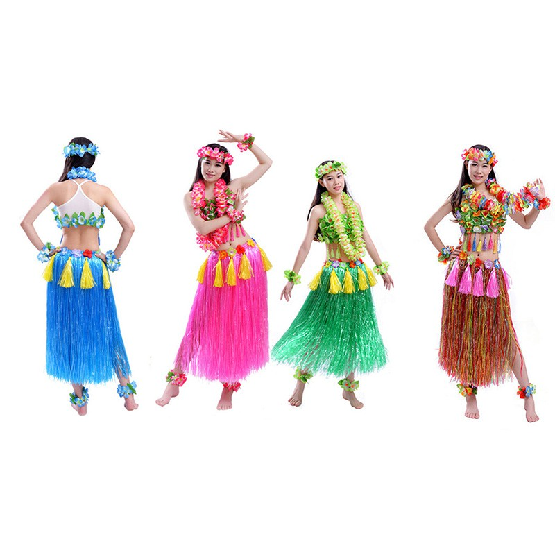 22353bf31c95 Hawaiian Hula Grass Skirt Fancy Dress Flower Long 40cm | Shopee Philippines