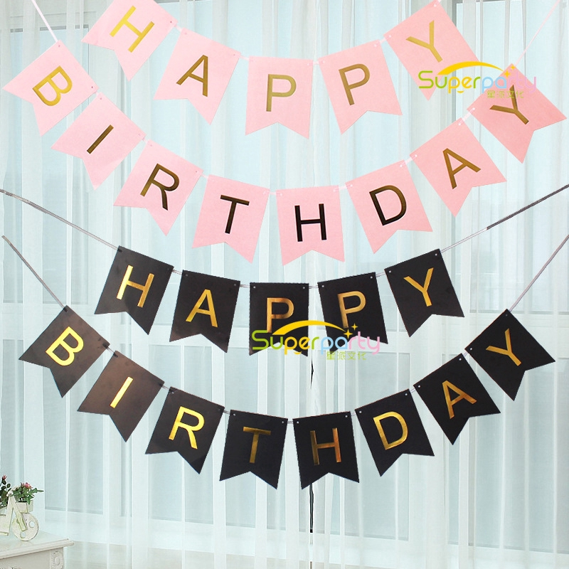 Glitter Paper Happy Birthday Hanging Bunting Banner Flag Baby Shower Party Decor