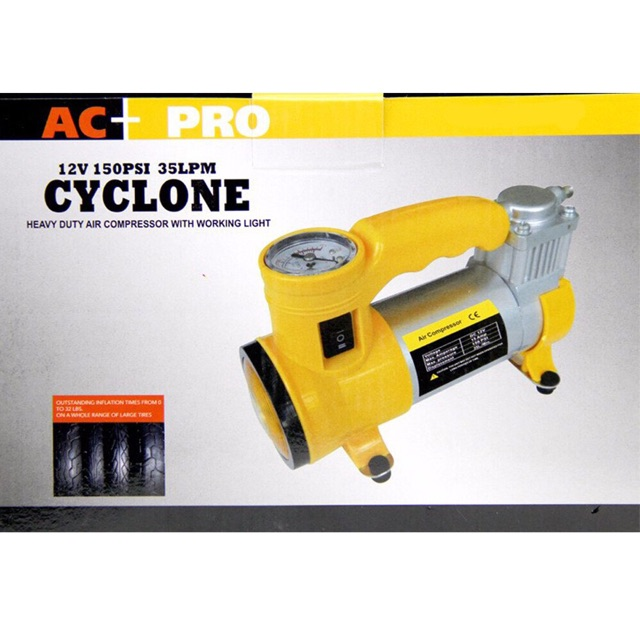 AC-PRO CYCLONE Heavy Duty Air Compressor w/ Working Light
