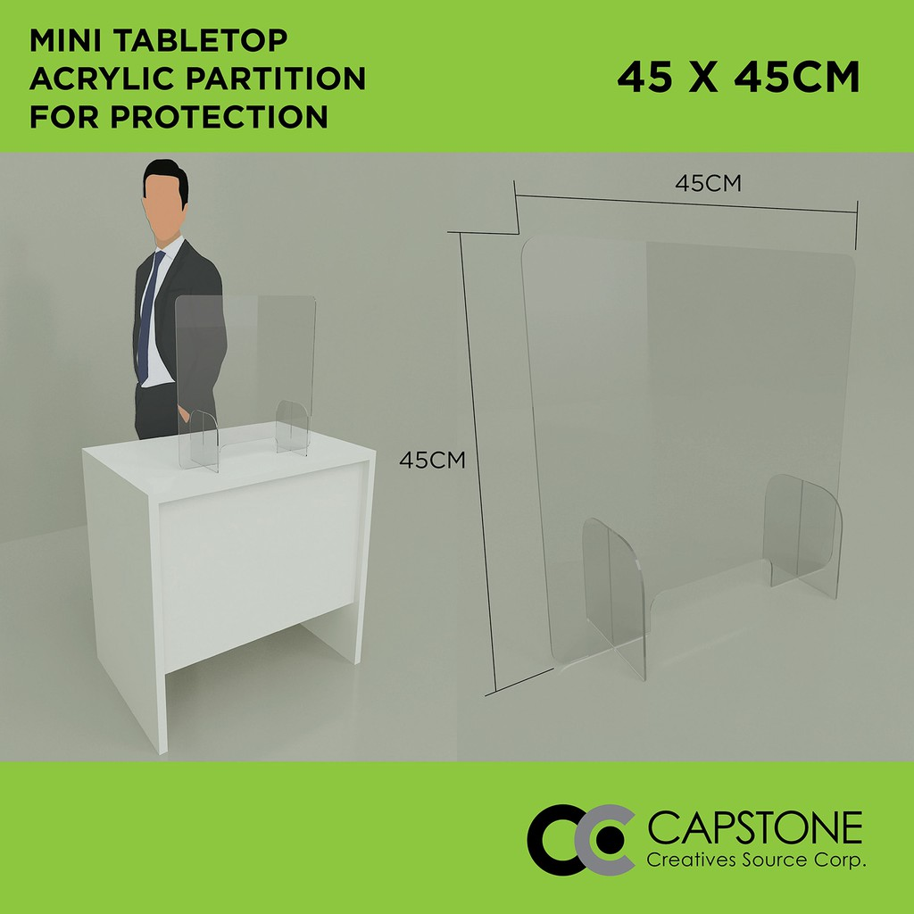 Picture of: 45x45cm Acrylic Partition For Protection Table Top Clear Acrylic Shield Acrylic Sneeze Guard Shopee Philippines