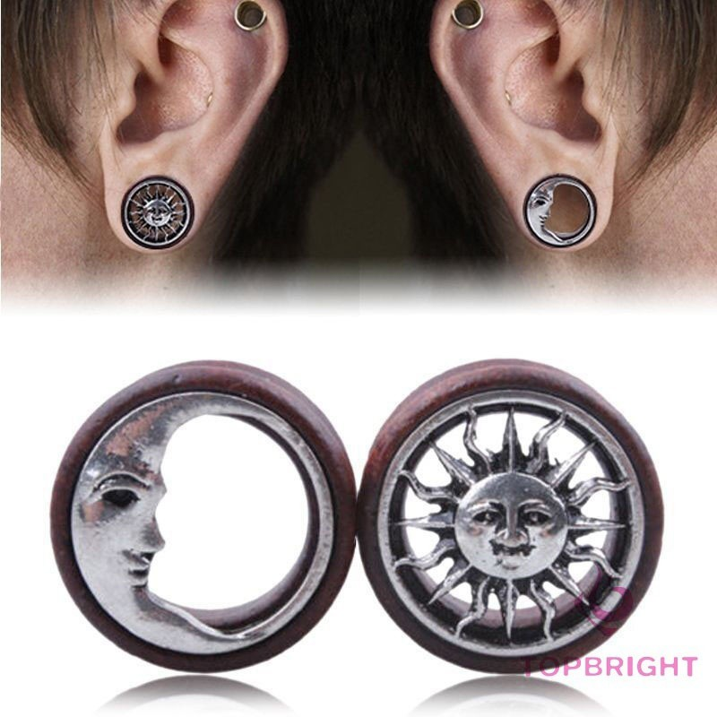 Gem Rim Hollow Screw Fit Ear Tunnel Stretcher Expander CHOOSE SINGLE OR PAIR