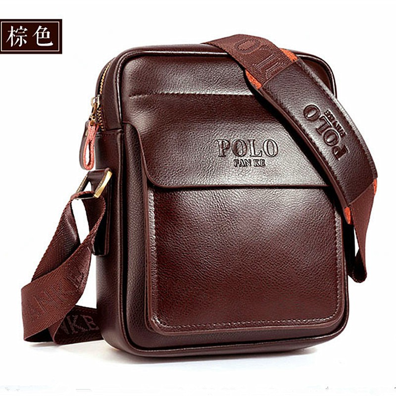 Men/'s Shoulder Classical Messenger Bags POLO Fashion Genuine Leather Casual Bag