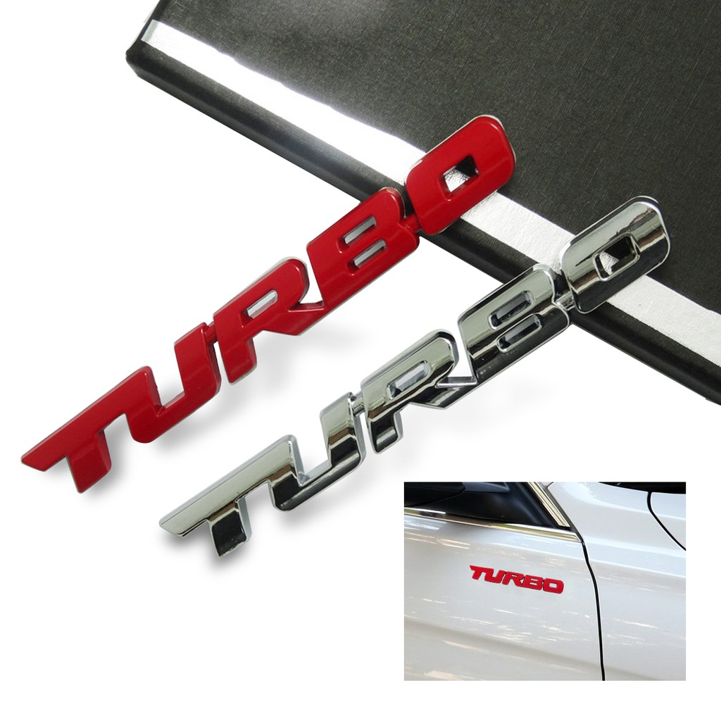 """New Style 3D Car Alloy Metal /""""TURBO/"""" Logo Emblem Badge Sticker Decal Silver+Red"""