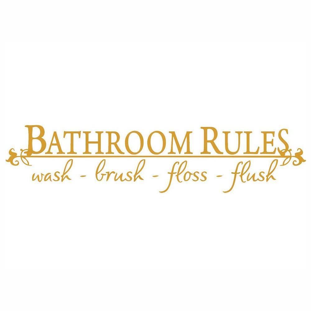 Bathroom Rules WASH Brush Floss Flush Quote Vinyl Wall Decal Decor Sticker