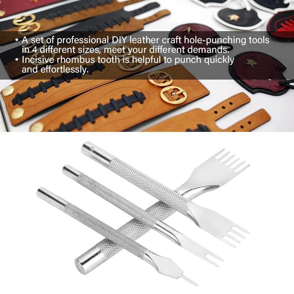 4pcs Leather Punch Tool Set Steel DIY Crafts 4mm Spacing 1//2//4//6 Prongs Tools Gift for Professionals and Amateur