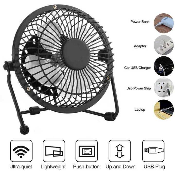 Plastic 4 Inch USB Fan Desk Mini Fan Mini Fan 360 Degree Up Or Down for Office Or Home Use 4 Colors Green