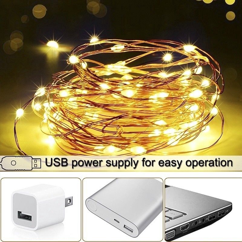 50//100LED Battery Powered Copper Wire String Fairy Lights Xmas Party W//Timer