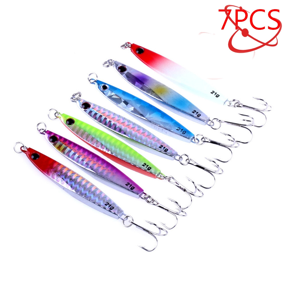 7x Laser Jigs Fishing Lures Sea Metal Crankbaits Iron Lead Fish Tackle