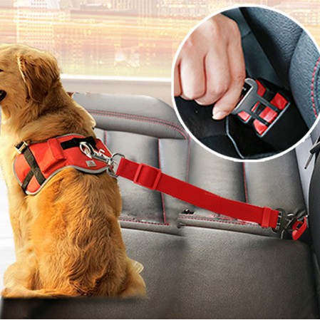 Pet Dog Adjustable Nylon Safety Car Seat Belt Cat Restraint Lead Travel Leash