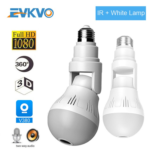 1080P HD Bulb Camera LED Lighting Wi-Fi VR IP Camera 360 Security Camcorder V380