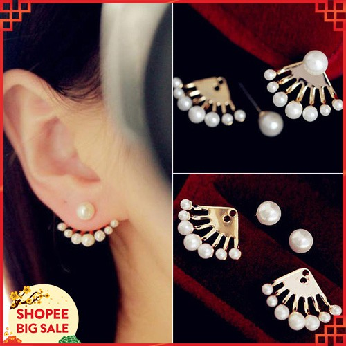 👍Fashion Women's Front Lever Back Earrings Pearl Ear Studs