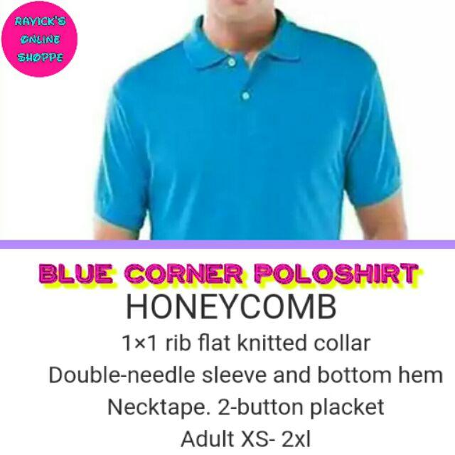 Blue Corner Poloshirts Honeycomb Plain Colored