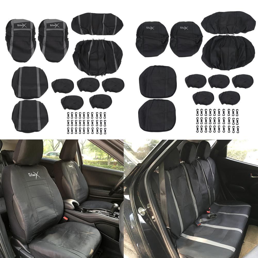 Mk6 FRONT BLACK PAIR CAR SEAT COVER SET PROTECTORS 02-08 FORD FIESTA