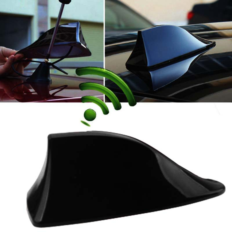 Universal Car Roof Radio AM//FM Signal Amplified Shark Fin Aerial Black Antenna