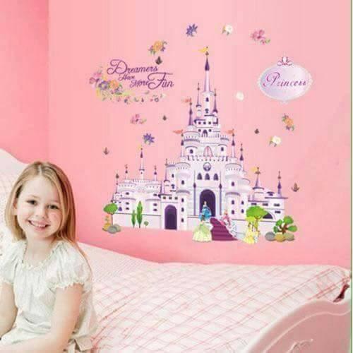 Princess,Castle,Sticker,3D,Kids,Decal,Bedroom,Wall Art,Mural