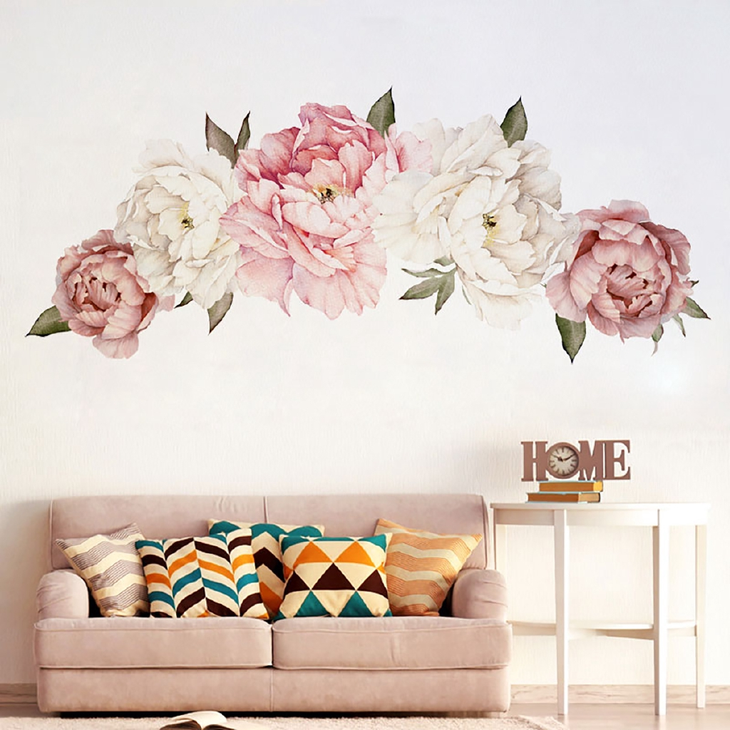 Diy Peony Flower Removable Wall Sticker Art Decal Home Living Room Bedroom Decor