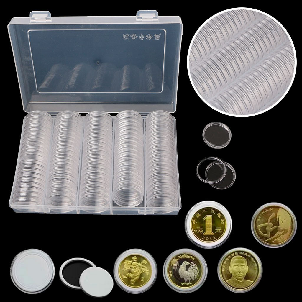 10Pcs Applied Clear Round Cases Coin Storage Boxes Capsules Holder 30mm//1.18''