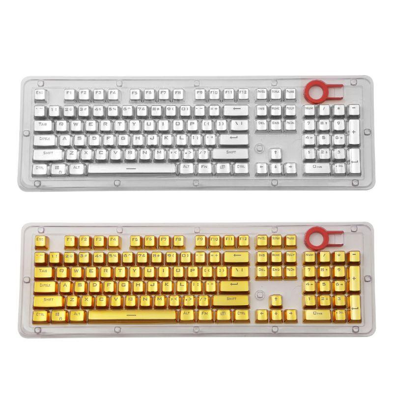 Side Metal Plating Keycaps Set for Mechanical Keyboard Black and Silver Translucent Backlit