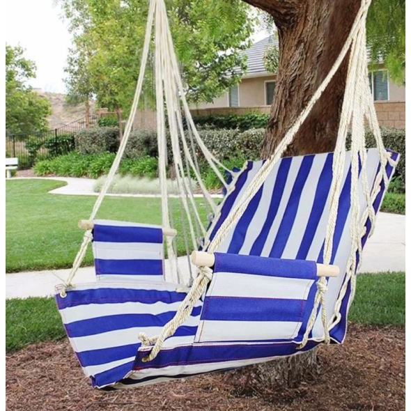 Indoor Outdoor Hanging Hammock Patio Swing Blue White Shopee