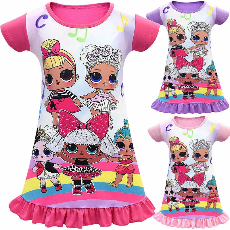 Surprise Dolls Kids Girls Nightdress Sleepwear Pyjamas Dress Nightwear Age 2-10Y