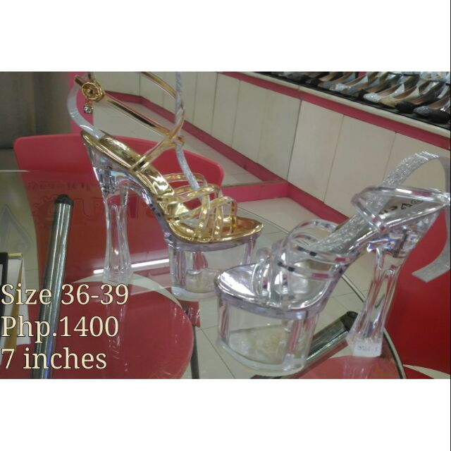 030a6e05f14 7 inches Glass Heels