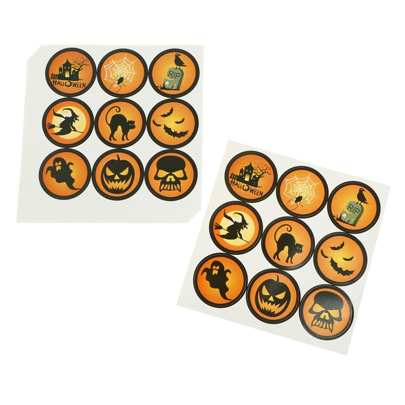 90pcs Halloween Paper Stickers Pumpkin Gift Bag Labels Candy Packaging Tags DD