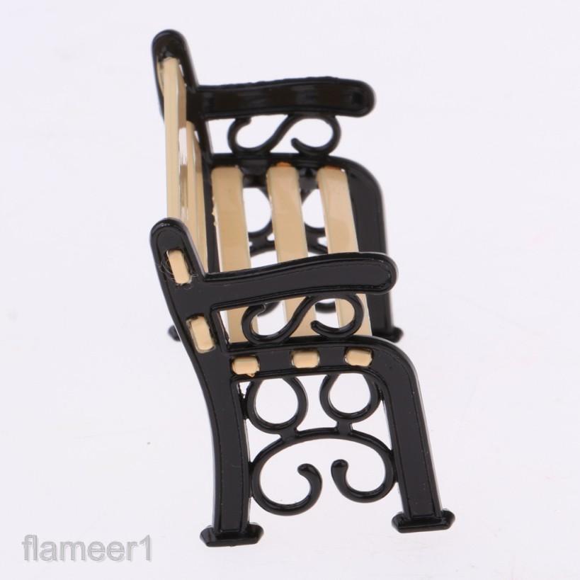 MagiDeal Dollhouse Miniature Garden Decor Furniture Park Bench /& Street Lamp