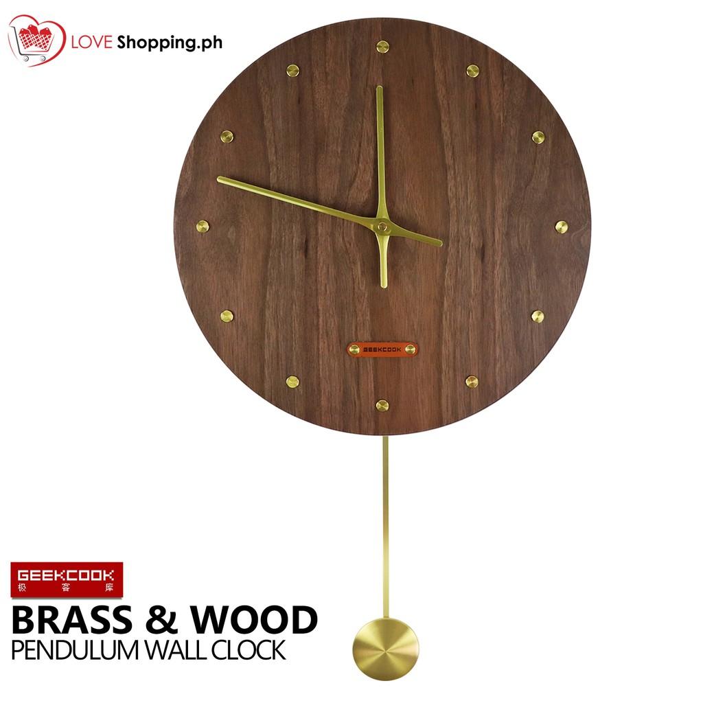 GEEK COOK Brass and Wood Design Pendulum Wall Clock