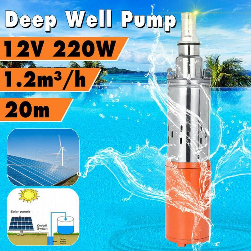 Solar Submersible Water Pump 1 24V-0.8m/³-35m Stainless High Lift Deep Well Water Pump DC Screw Cast Steel Pump Deep Well Pump Solar Kit