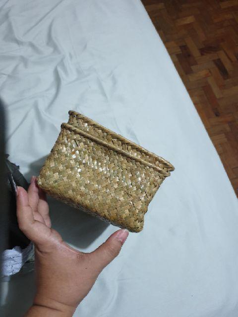 Handmade Straw Dried Flower Fruit Pot Basket Rattan Box