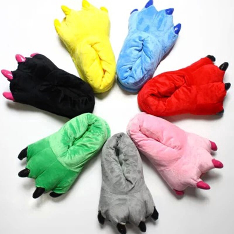 Unisex Animal Monster Feet Slippers Claw Dinosaur Paw Plush Shoes | Shopee  Philippines