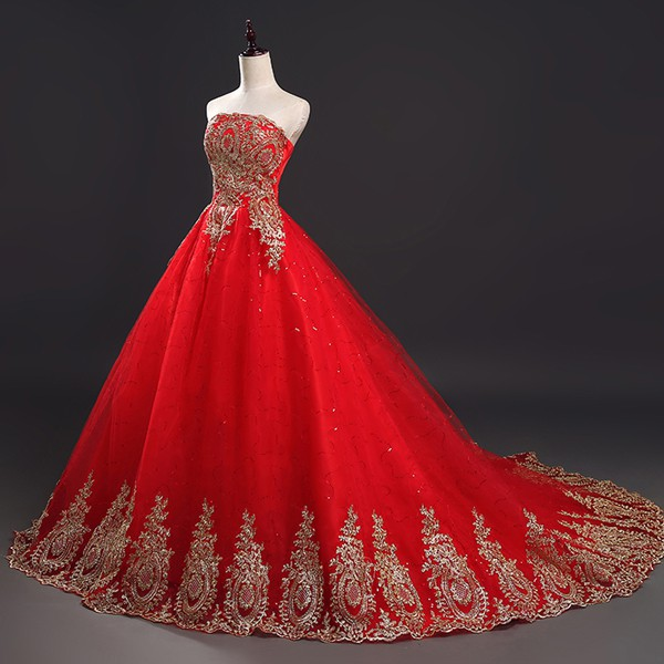 Wedding Gown Rates Philippines: Lace Red Wedding Dresses Women Fashion Elegant Ball Gown