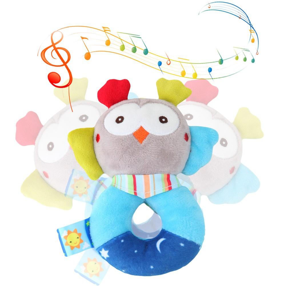 FOREAST Kids Handbells Rattles Toy Baby Soft Plush Toys Developmental Infant Birthday Present