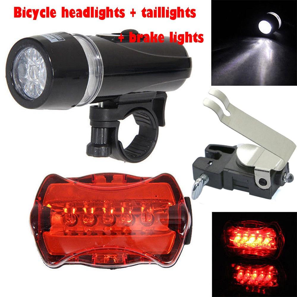 4Pcs Waterproof 5 LED Lamp Bike Bicycle Front Head Light+Rear Safety Flashlight